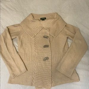 Large Eddie Bauer Camel Cardigan Sweater